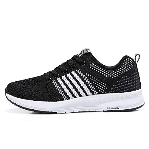 Sonnena Damen Bequem Breathable Schuhe Sneaker Gym Fitness Mesh Turnschuhe Freizeitschuhe Casual Schnürer Leicht Sportschuhe Laufschuhe Shoes 35-41 Schwarz