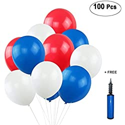 "shggus Red White Blue Balloons, 12"" Latex for Veterans Day Decor, Patriotic Parade, Election Event, Christmas Wedding Outdoor Decorations, Son Girl Birthday Party Supplies - 100 Pack with Pump"