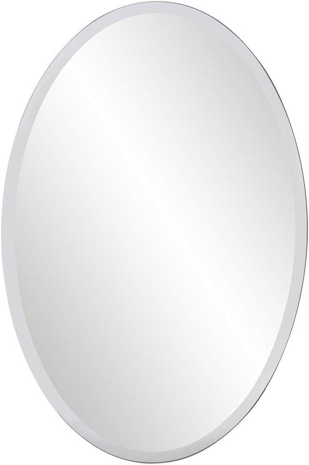 Howard Elliott Frameless Hanging Wall Mirror, Oval, Silver - Bathroom, Vanity, Bedroom