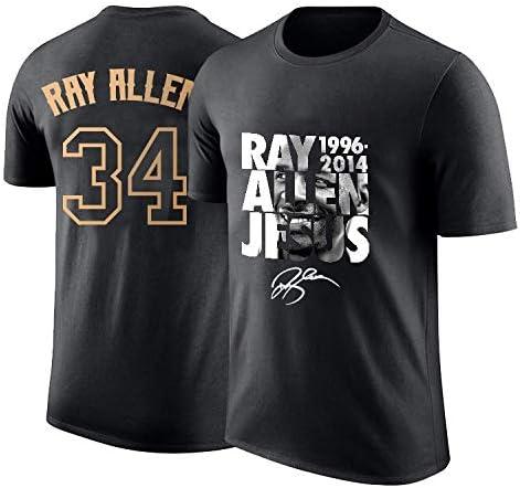 RENJUN La Camiseta de los Hombres supersónicos Ray Allen retiró Medias Mangas conmemorativas Camiseta número 34 de algodón Estampado de Baloncesto Deportivo de Manga ...