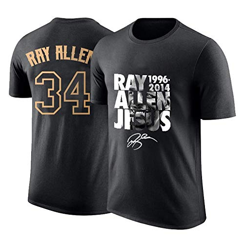 QARYYQ T-Shirt Men's Supersonic Ray Allen Retired Commemorative Half Sleeves 34th Jersey Printed Cotton Sports Basketball Short Sleeve t-Shirt (Size : M)