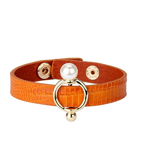JOYMAIO Italian Leather Bangle Gold Pearl Jewelry Wrap Wristband Cuff Bracelet for Women,Teen ()