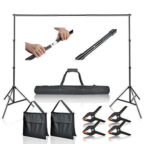 Emart Photo Video Studio 10Ft Adjustable Background Stand Backdrop Support System Kit with Carry Bag (Birthday Cake Black Forest)