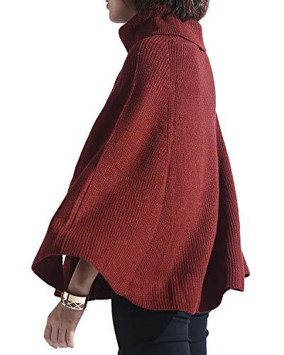 (Spicy Sandia Women Turtleneck Poncho Sweater Cape Knit Pullover Brick Sweaters)