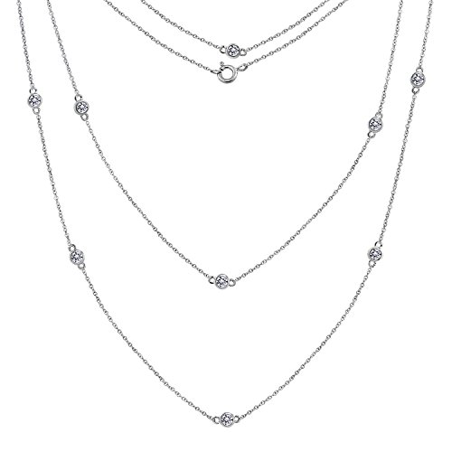 "Diamonbliss Sterling Silver or 14K Gold Clad Cubic Zirconia 36"" Station Necklace- Sterling Silver"