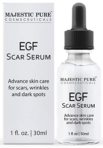 MAJESTIC PURE EGF Scar Serum for Face - Reduce Appearance of Acne Scars, Marks, Wrinkles, and Dark Spots - Helps with Old Scar Removal - 30ml (The Best Serum For Acne Scars)