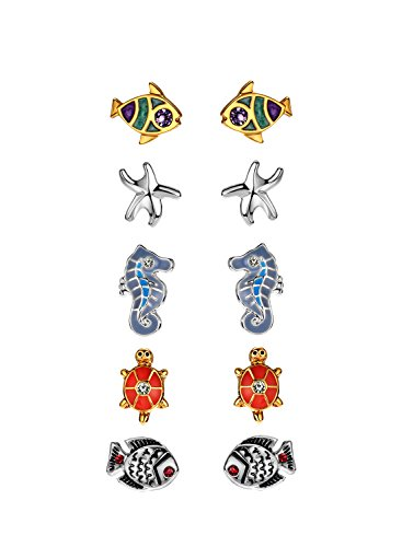 Neoglory Jewelry Earrings Set Silver Starfish Blue Seahorse Pink Turtle Green Fish For Sensitive Ears Green Fish Earring