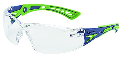 Bolle Safety Rush+ Safety Glasses, Blue & Green Frame, Clear Lenses