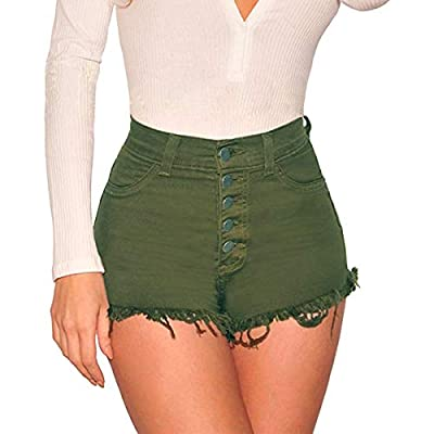 Tengo Womens High Waist Microstretch Cotton Denim Shorts at Women's Clothing store