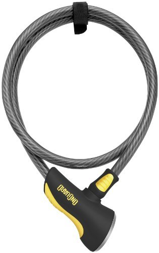 OnGuard 8000 Series Akita 12mm Braided Steel Cable Lock - 10'/Black/Yellow (Steel Black Twisted Cables)