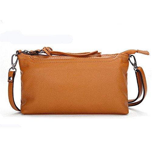 (Daiwenwo Women Leather Handbags Small Messenger Bags Cowhide Ladies Crossbody Shoulder Clutch Bags (No6 Earth Yellow J01))