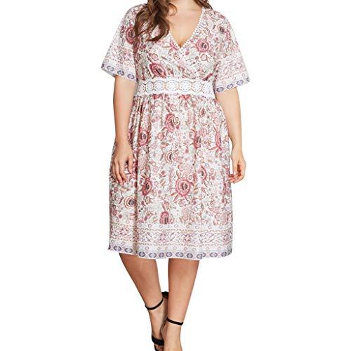 Cliramer Plus Size Fashion Women Solid Short Sleeve V-Neck Sashes Bandage Casual Dress Bohemian Party Maxi Dress Beige ()