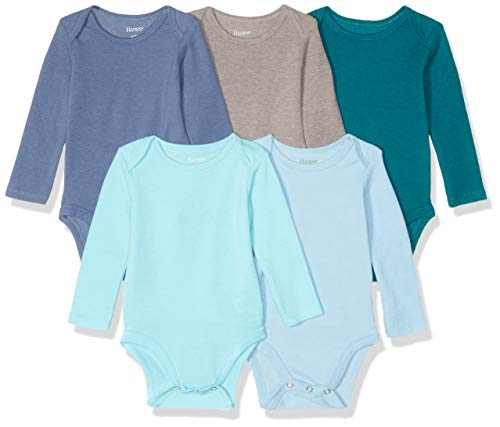Hanes Ultimate Baby Flexy 5 Pack Long Sleeve Bodysuits, Blues, 0-6 Months