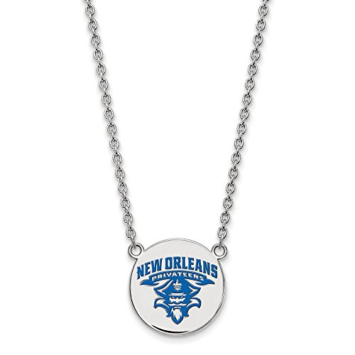 925 Sterling Silver Officially Licensed University College of New Orleans Large Enamel Disc Necklace (Necklace Genuine Mlb)