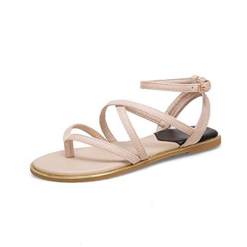 Bohemia Sandales Beige Toe Boucle Romain Clip Femmes Plat Chaussures pAa0qgA