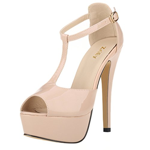 ZriEy Women's Sexy Peep Toe High Heel T-Strap Platform Sandals Leather Patent Nude , 6 M US / 36 M (Patent High Heeled Peep Toe)