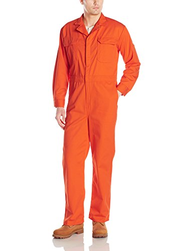 - Bulwark Flame Resistant 9 oz Twill Cotton Deluxe Coverall with Concealed Snap Cuff, Orange, 48
