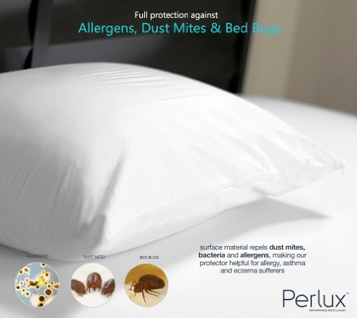 Queen Size Perlux Hypoallergenic Tencel 100% Waterproof Pillow Encasement - Vinyl, PVC, Phthalate and Pesticide Free - Includes Set of Two by Perlux (Image #1)