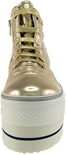Top Synthetic Platform Shoes Double Gold Leather Sneakers Round Lace High Maxstar CwTpTq