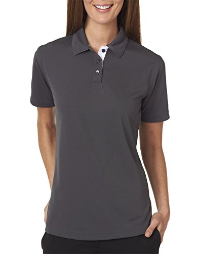 UltraClub 8325L Ladies Platinum Performance Birdseye Polo with TempControl Technology - Charcoal - L -