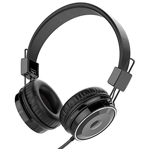 BASEMAN Wired Headphones Headsets Strong Low Bass Stereo Foldable Over-Ear Earphones with Microphone 3.5mm for Cellphones iPhone Laptop Tablet Mp4 Mp3 PC (Black)