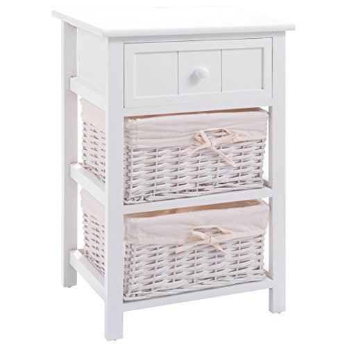 Giantex Wooden Nightstand W/Storage Drawer, 2 Baskets and Open Shelf for Bedroom, Bedside Sofa White End Table