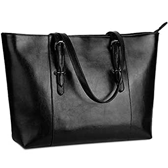 YALUXE Genuine Leather Women's Laptop Tote Large Work Bags Shoulder Bag Vintage Style Purse Fits Up to 15.6 inch Black