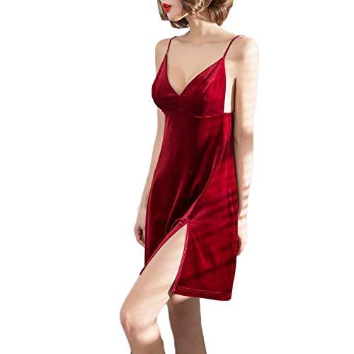 Camisón V Vintage Clásico Sin Terciopelo Cómodo Pijama Sleepwear Mangas Moda Espalda Mujer Suave Unicolor Mujeres cuello Camisones Elegantes Vestido Rojo Sling Descubierta r6XCqwxrO