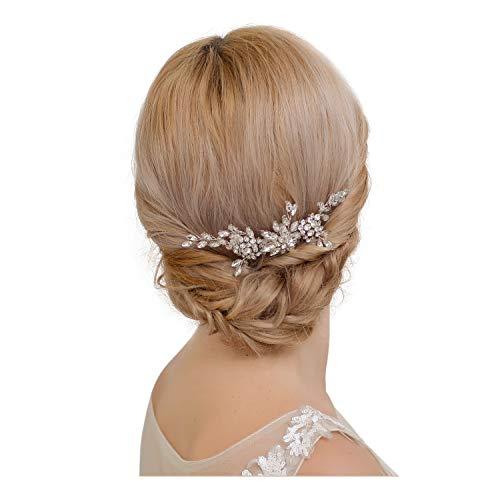 azaleas Floral Wedding Hairband Wedding Hair Piece Flower Hair Comb Headband Freshwater Crystal Bridal Hair Vine Ribbon Headband (H248-Off White)