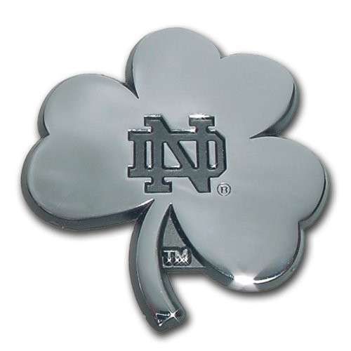 University of Notre Dame NCAA College ''Shamrock'' Chrome Plated Premium Metal Car Truck Motorcycle Emblem by Elektroplate