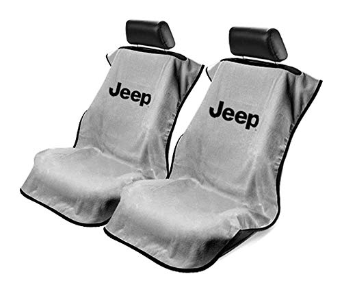 Logo Car Seat Towel - Seat Armour -Grey Towel Seat Covers for Jeep -Pair