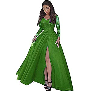 23bad8a5a79df Sexy Illusion Long Sleeves Lace Prom Dresses Slit A-Line Backless Formal  Evening Party Ball Gowns