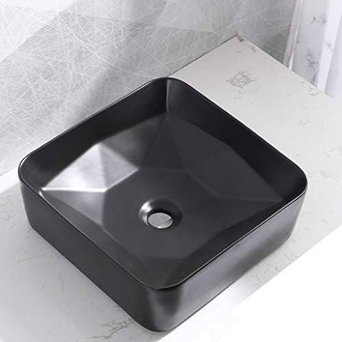 BoPin バスルームの洗面台、正方形セラミックカウンターバニティ家庭シンク技術流域単一盆地(NOタップ)、利用可能な3色 ベッセルシンクシンク (Color : Black)