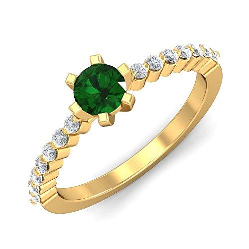 KuberBox 18KT Yellow Gold, Diamond and Emerald Ring for Women