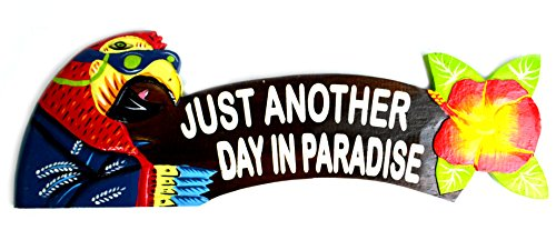 - WorldBazzar BUFFET PARROT Hand Carved Wooden ANOTHER DAY IN PARADISE Cocktails Drinking BEACH Surfboard Sign