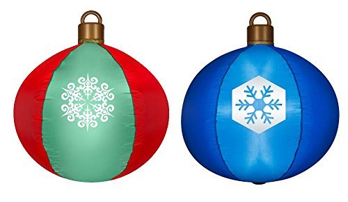 Giant Inflatable Christmas Ornaments – Set of Two 36-inch Hanging Ball Airblown Inflatables by Gemmy