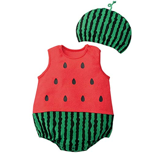 Baby Boy Girl Clothes Cotton Bodysuit+Hat Cute Strawberry Animal Costumes Jumpsuit]()