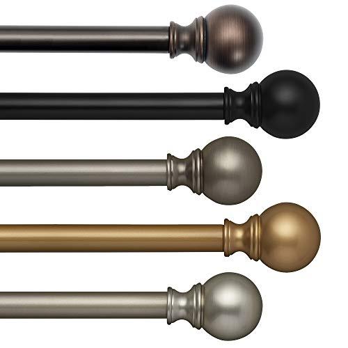 "Elrene Home Fashions Cordelia 1"" Window Drapery Single Curtain Rod with Globe Ball Finial, 28""-48"" Adjustable, Antique Pewter"