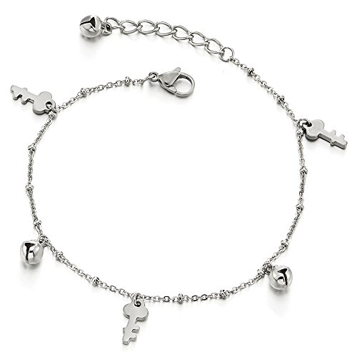 Stainless Steel Anklet Bracelet with Dangling Charms of keys and Jingle Bell (Jingle Personalized Bell)