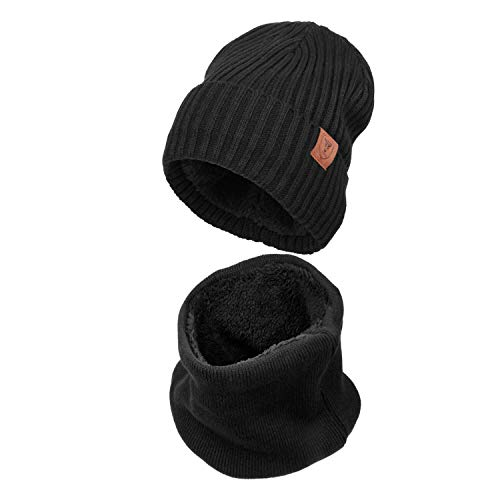 Winter Knit Hat Warm Scarf Set Thermal Polar Fleece for Men and Women (2 Pieces) ()