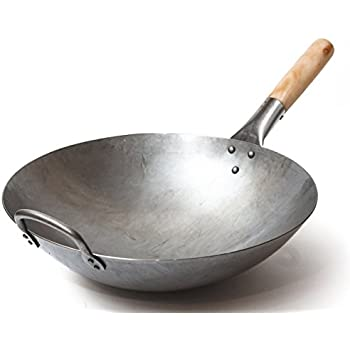 Traditional Hand Hammered Carbon Steel Pow Wok with Wooden and Steel Helper Handle (14 Inch, Round Bottom) / 731W88 by Craft Wok