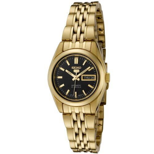 Seiko Women's 5' Japanese Automatic Gold-Tone-Stainless-Steel Casual Watch, Color:Gold (Model: ()