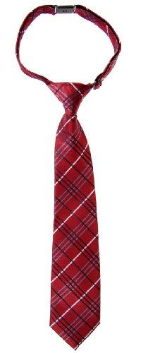 Retreez Tartan Plaid Styles Woven Microfiber Pre-tied Boys Tie - Burgundy - 4 - 7 years