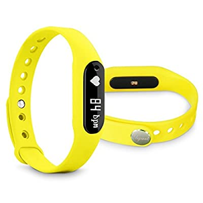Sport Heart Bracelet Fitness Tracker Bluetooth Touch Screen Waterproof Smart Band With Steps Tracking Calories Burned Sleep Monitor Heart Rate Monitor for Android IOS (yellow)¡