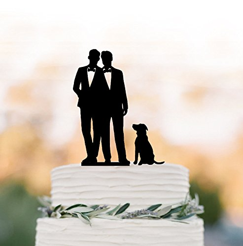 Gay Cake Topper With Dog Gay Silhouette For Wedding Same Sex Gift For Gay Wedding Cake Toppers Mr Mr Wedding Gift Rustic Cake Topper by Dikoum
