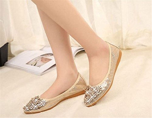 Shoes Ballet Toe Flat Cloudless Womens Gold Rhinestone on Foldable Flats Pointed Slip Soft TZZOgqw
