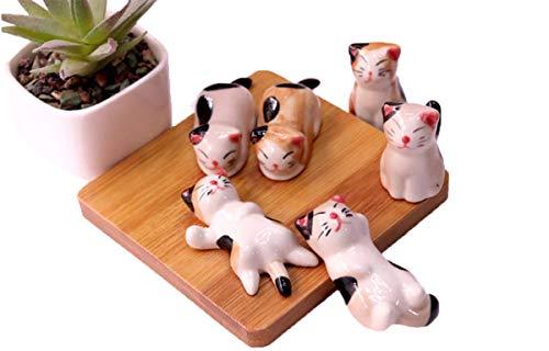 Hudiefly Miniature Cat Decorative Figurines Collectibles Ceramic Dolls Handmade Decor 5 Pcs Pack Ceramic Glazed Cat Figurine