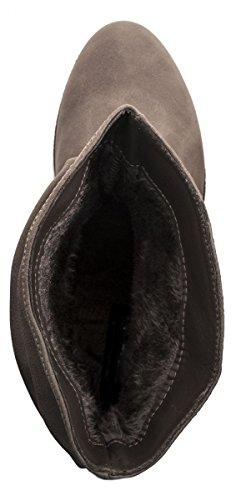 New Gefütterte Schlupf Sangle Rembourrées Dames Grau Elara Confortables Schnallen Gris Elara Bequeme Bottines Bottes Damen Nouveau Boots Glisser Bottes Stiefeletten Stiefel 0wWqaF4
