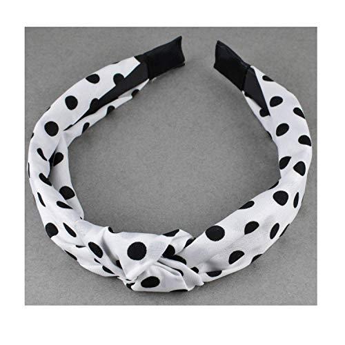 White Black turban knot headband polka dot fabric covered head band grip teeth -