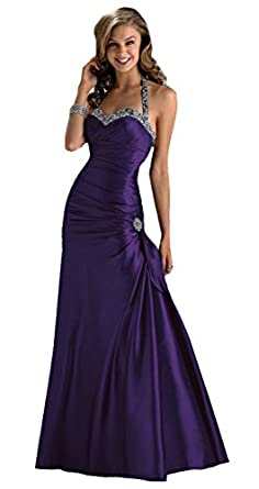 Gorgeous Halter-neck Evening Dress Ball Gown in Purple, Black, Red ...